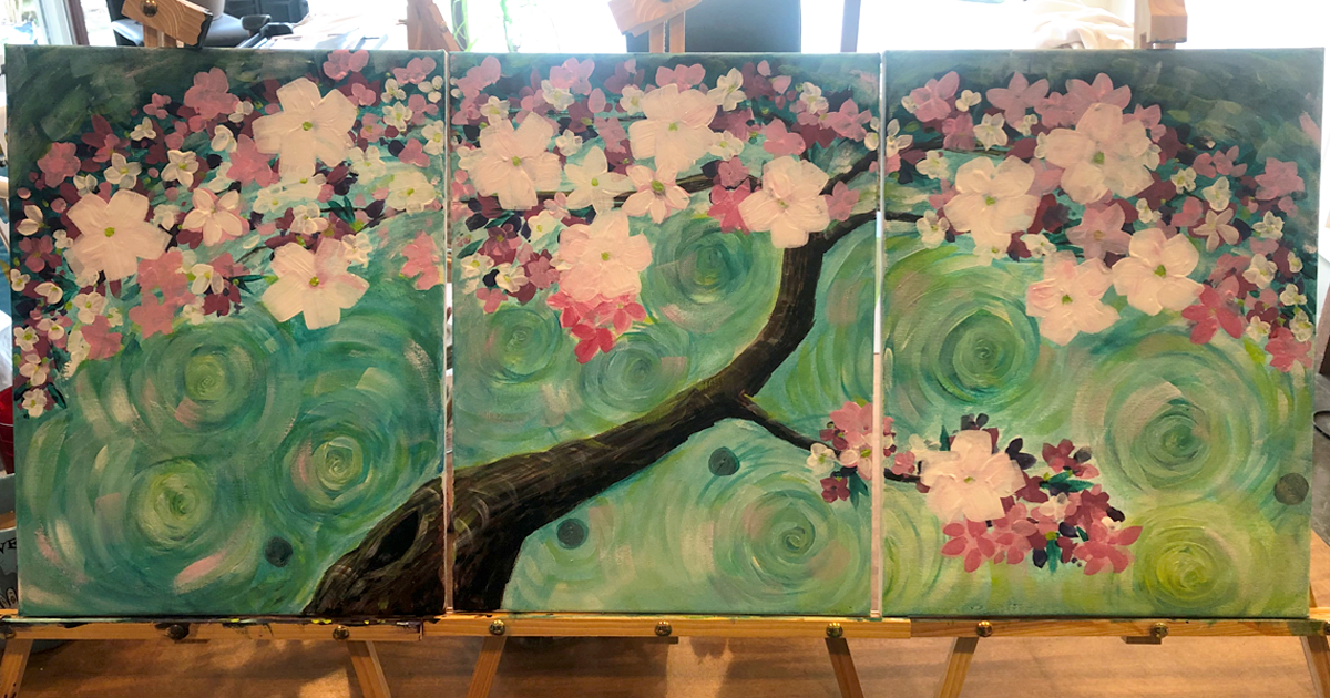 3 panel orchard tree by Peggy Brewer