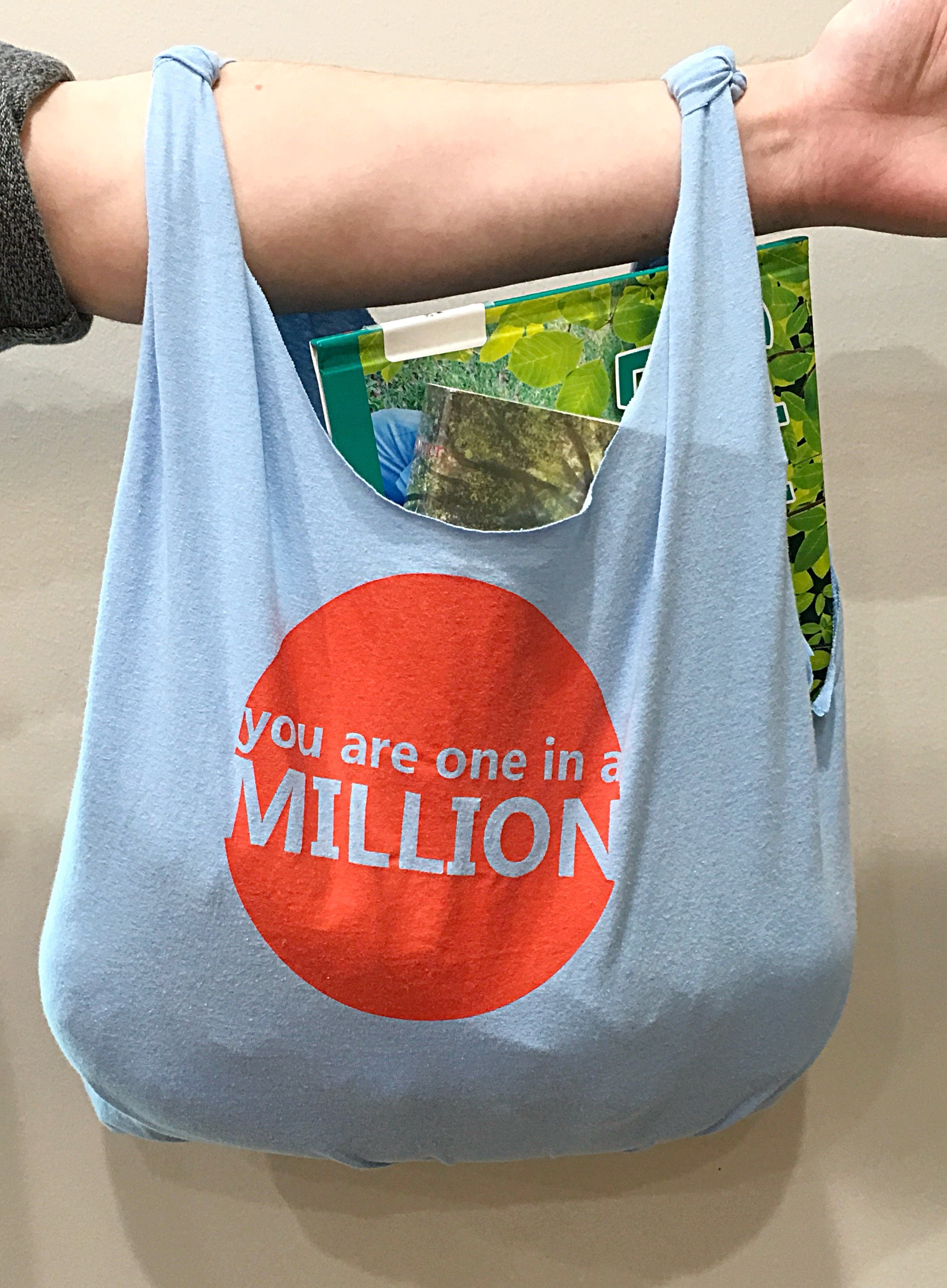 T-shirt recycled into a bag.
