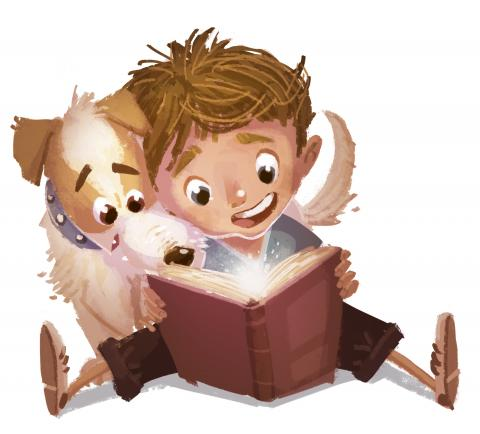 Image of a kid and a dog reading together.
